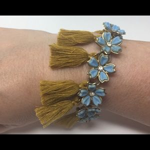 Baby Blue Rhinestone Flower Gold TASSEL Bracelet